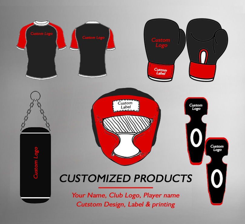 Customized Products Option, Custmized Boxing Gloves, Customized Boxing Equipments