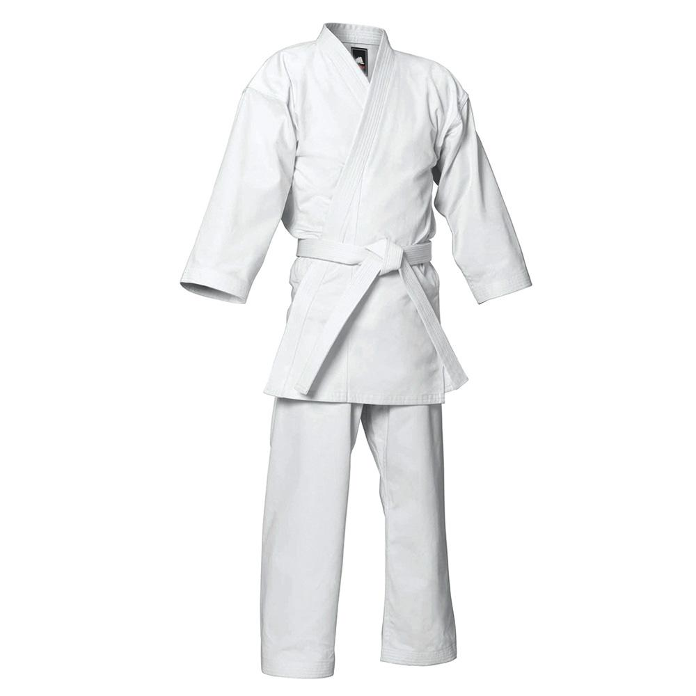 <p>Karate Uniform is made from 100% cotton. Comes with trousers with Elastic and Cord Waist For All Sizes. Considered to be the best of its class for demanding martial arts students. 100% Cotton INCLUDES FREE WHITE BELT.<br />