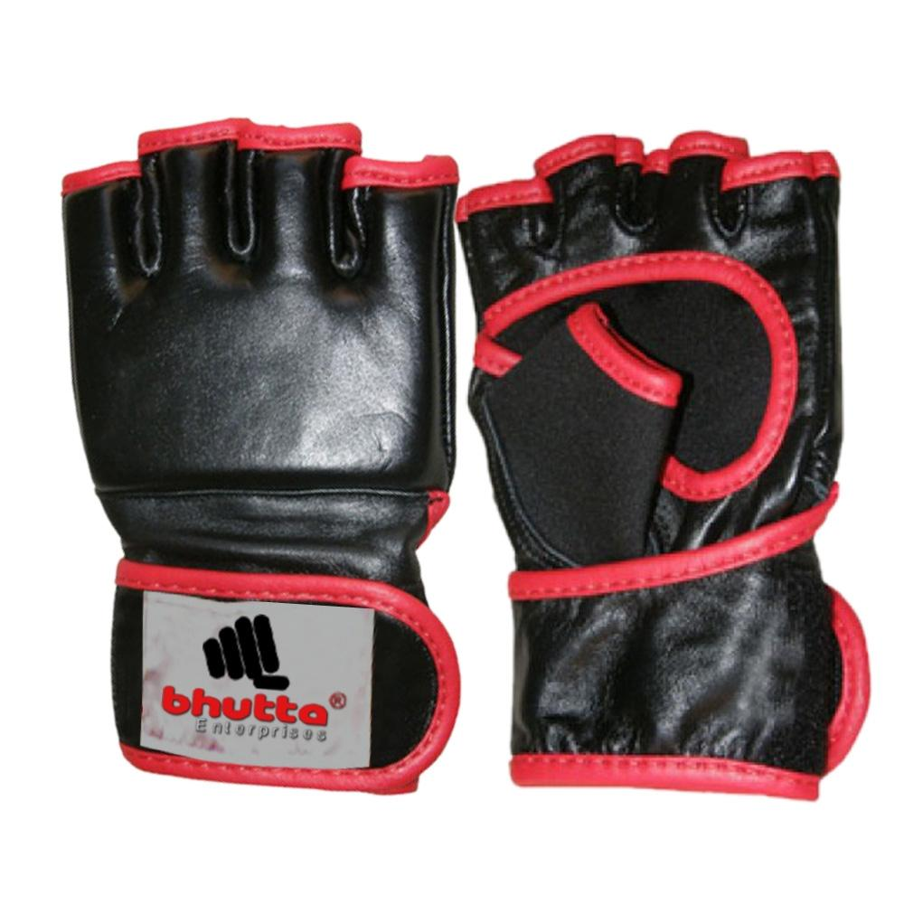<p>MMA Gloves is Made of Cowhide Leather, inside rubber Padded,Wrap around Hook &amp; loop closure Available in any color or size Custom Logo &amp; Design Possible.<br />
