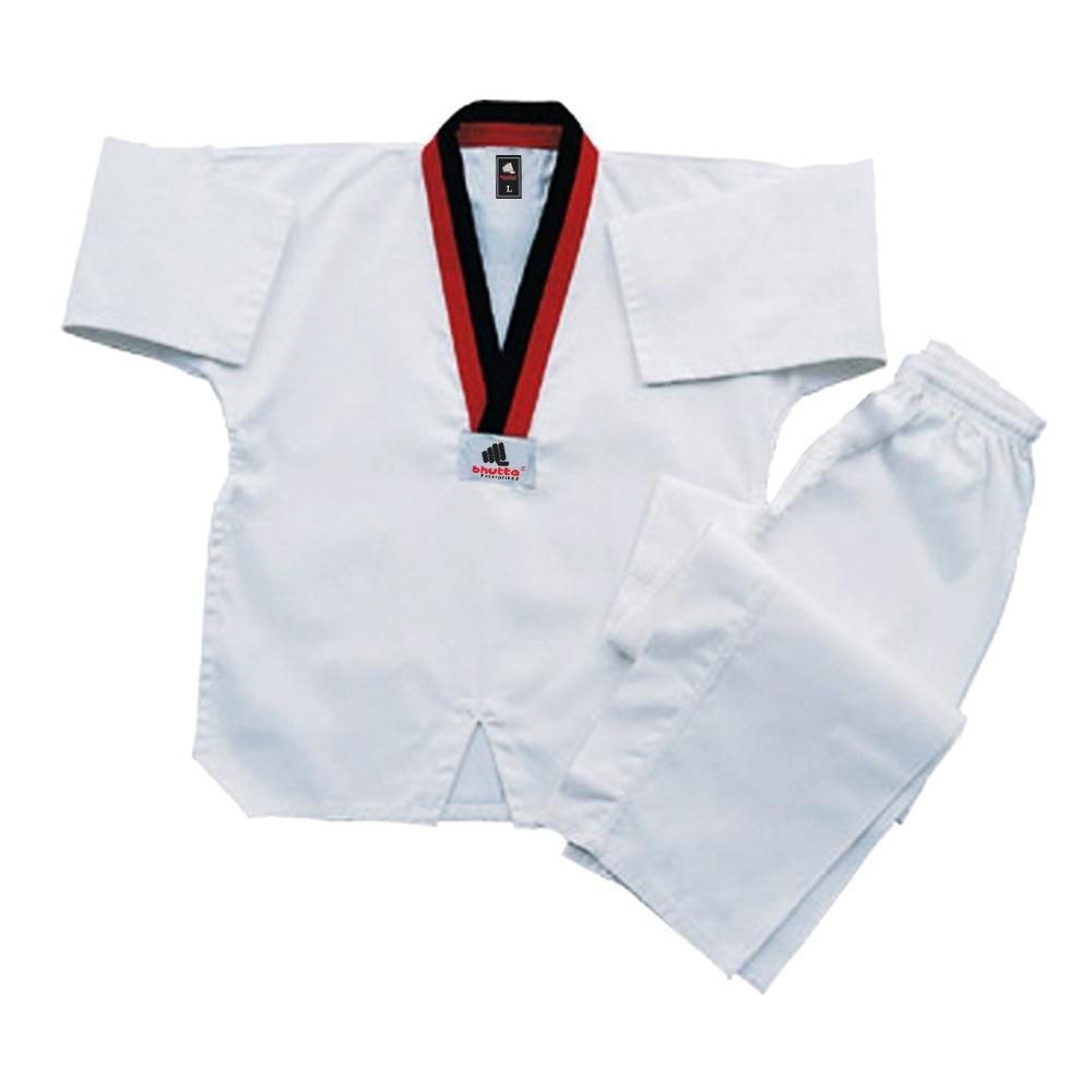 <p>TaeKwondo Uniforms Medium Weight 45% Polyester and 55% Cotton blend fabric for easy care. This Blue Tae Kwon Do Medium Weight Uniform has a full cut design for perfect fit with 3 piece Tae Kwon Do style gusset in pants and reinforced double stitched flat seams for extra strength. <br />